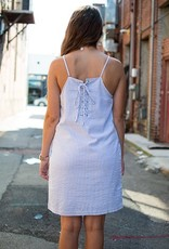 Blue and white pinstripe dress w/lace up back