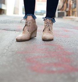 Wedge heel lace up bootie