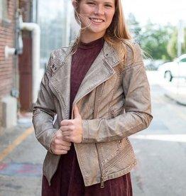 Grey moto style faux leather jacket