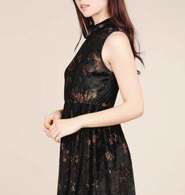 Blossom mock floral printed velvet dress