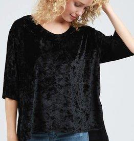 Black ss crushed velvet top