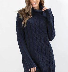 Navy turtle neck LS cable knit sweater