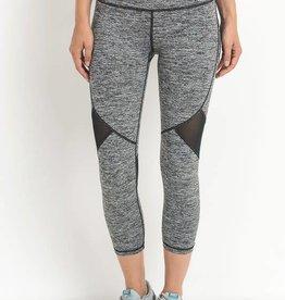 Marled and mesh capri leggings