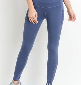 Blue high waist leggings w/mesh panel