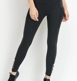 Black high waist leggings w/crisscross bottoms
