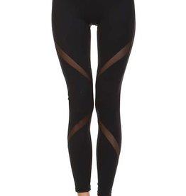 Cross mesh panel full length leggings