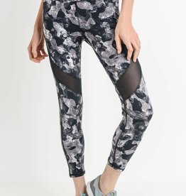 Monochrome print high waist mesh leggings