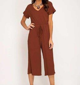 Chestnut short sleeve ribbed culotte jumpsuit