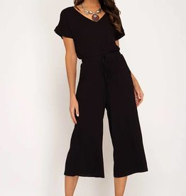 Black ss ribbed culotte jumpsuit
