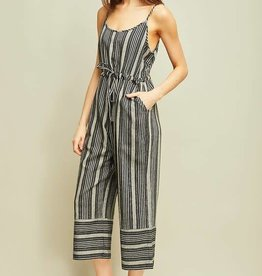Black striped wide leg jumpsuit