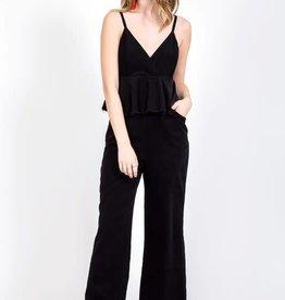 Black corduroy tiered top jumpsuit w/pockets