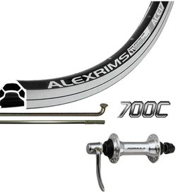 Handbuilt Wheels Front, 700C Wheel, Alex ACE-17, Black/ FM-21Silver, 36 Steel Spokes, QR Axle