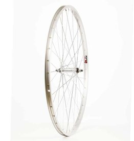 WHEEL SHOP Rear 700C Wheel, 36H Silver Ally Single Wall Alex X101/ Silver Jytech JY-434 Nutted Axle FW Hub, Steel Spkes