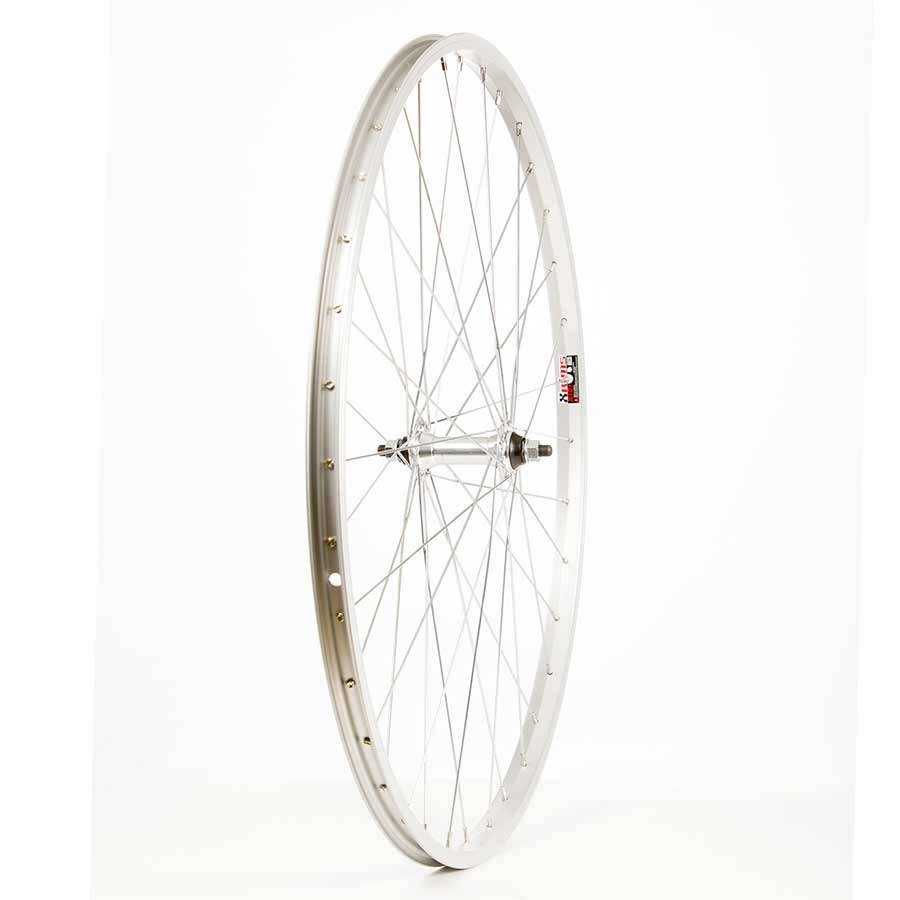 WHEEL SHOP Wheel Shop, Rear 700C Wheel, 36H Silver Alloy Single Wall Alex X101/ Silver Joytech JY-434 Nutted Axle FW Hub, Steel Spokes