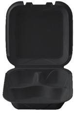 "Darnel Hinged Cont, 3 Comp Black 8"" (Q-3) 200ct. Case"