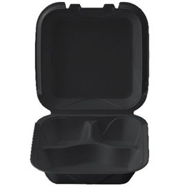 "Hinged Cont, 3 Comp Black 8"" (Q-3) 200ct. Case"
