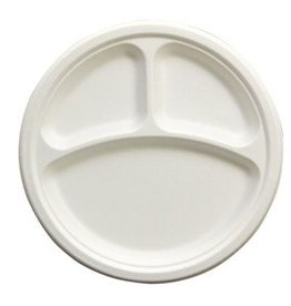 """Plates, 10"""" 3-Comp. Paper 50ct. Sleeve"""