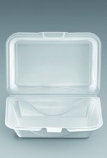 """Hinged Cont, White 1-Comp. 6x9"""" M-205 100ct. Sleeve"""