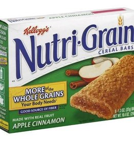 KELLOGG/KEEBLER COOKIE&CRACKER Nutri-Grain, Apple Cinnamon Cereal Bar 8ct. Box