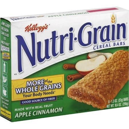KELLOGG/KEEBLER COOKIE&CRACKER Nutri-Grain, Apple Cinnamon Cereal Bar 8ct. Box