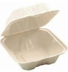 HUHTAMAKI INC Hinged Cont., Molded Fiber Food Container/Lid 100ct. Sleeve