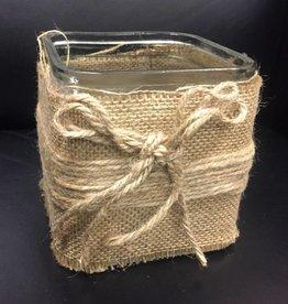 Candle Holder, Burlap Wrapped Glass Vase