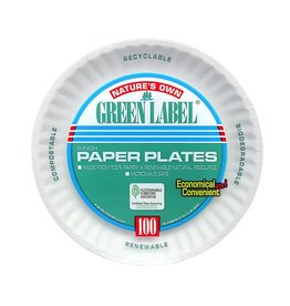 """Plates, 6"""" Uncoated White Paper Plate 10/100ct. Case"""