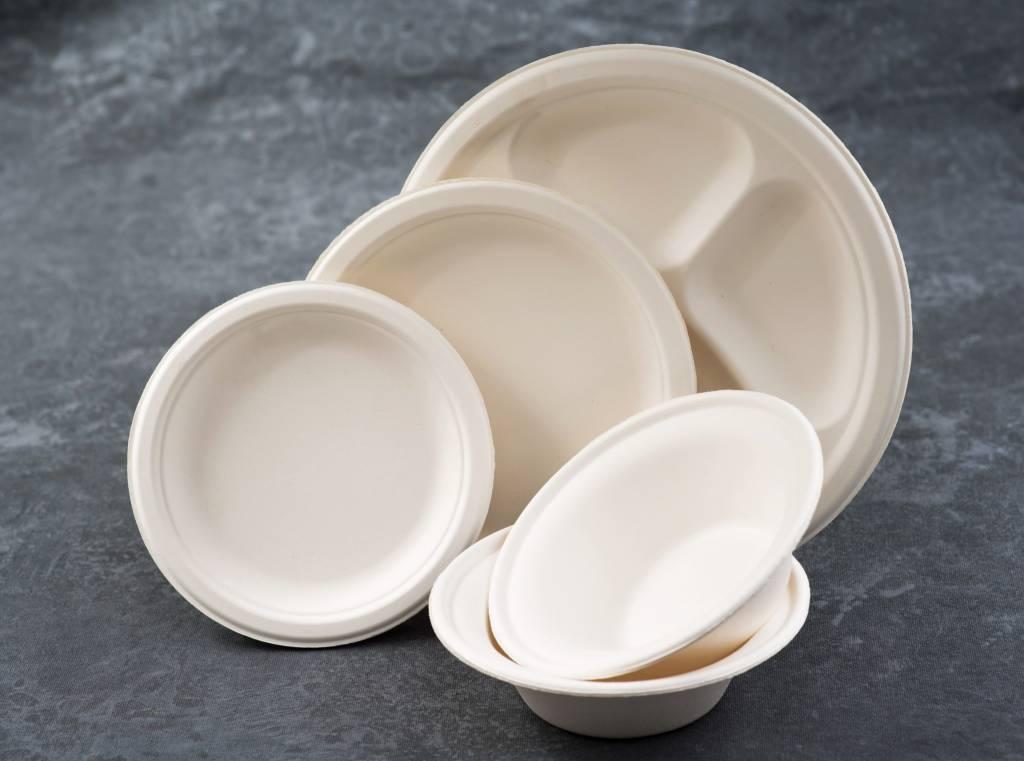 """Plate, 10"""" White Fiber, 125ct. Slv."""