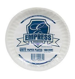 "Empress Plates, 6"" Uncoated White Paper Plate 100ct. Pack"