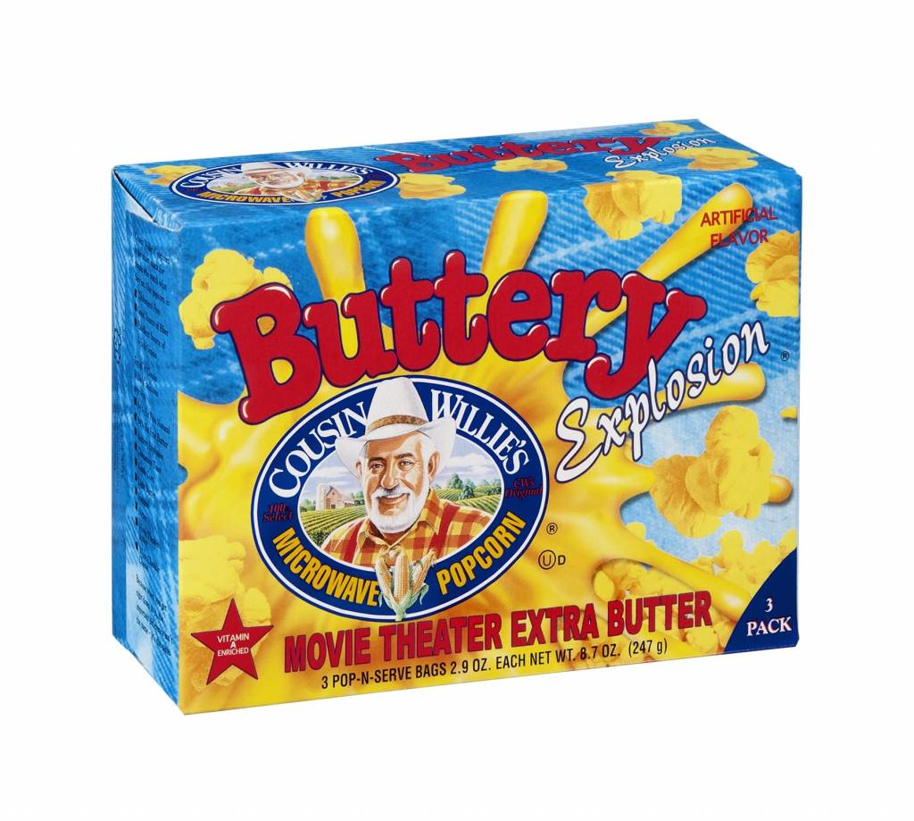RAMSEY POPCORN Cousin Willie's Microwave Popcorn 3-Pack Box