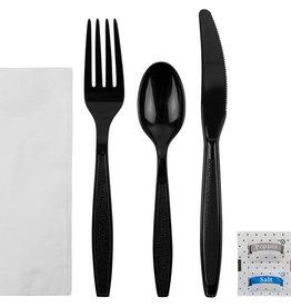 PRIME SOURCE Cutlery Kit, Medium Wt. K/F/TS/S&P/Napkin 250ct.