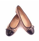 Flats Ballerina- Toe Cap Shagreen Taupe