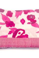 Himalayan Cashmere Company HCC-09- Fine Herringbone Big Blossom- Pearl/Fushia