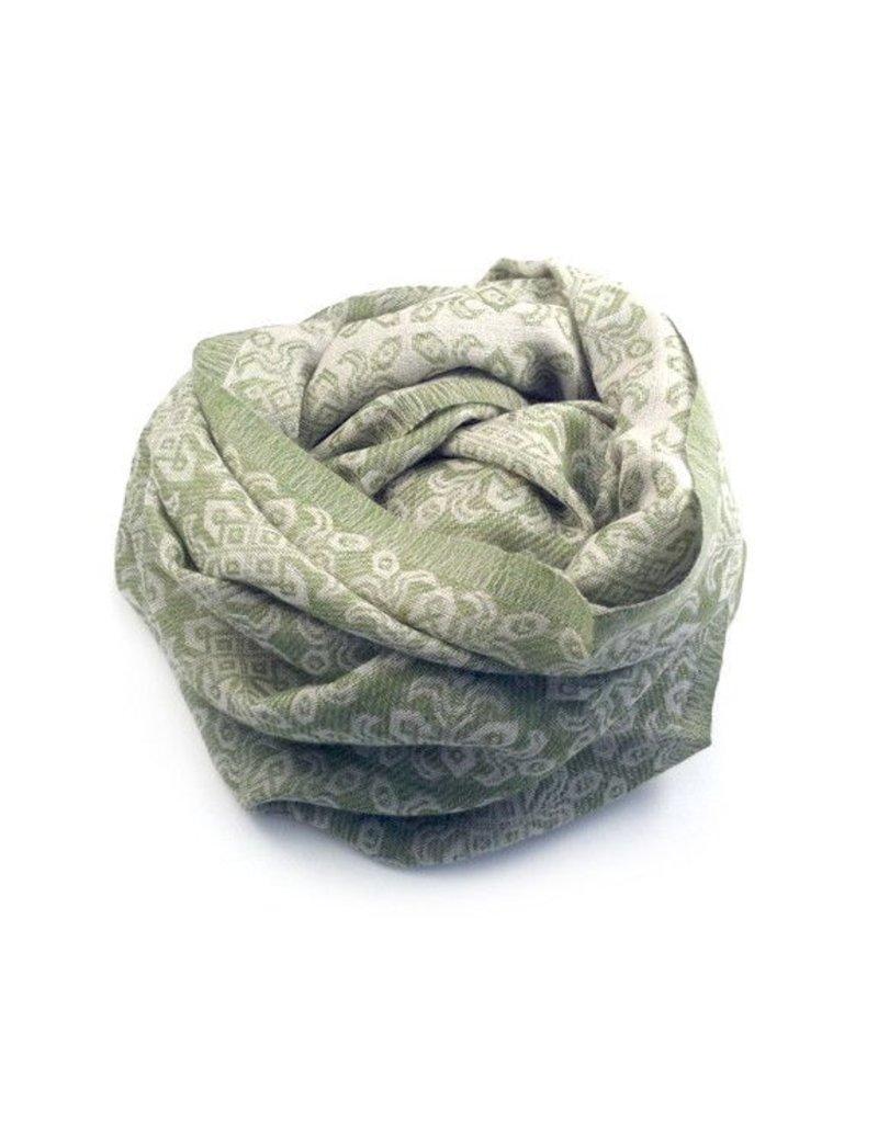 Himalayan Cashmere Company HCC-Flower Jacquard- Pearl/Green Tea