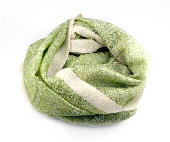 Himalayan Cashmere Company HCC- Oriental Weave Jacquard- Ivory/Vert
