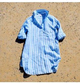 Flats Swiss Shirt - Linen - SS16 - Blue/White Stripes