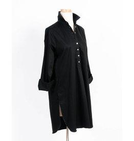 Flats Swiss Shirt- Cotton Sateen-Black