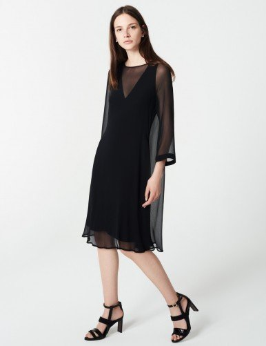 Winser London WL- Georgette Silk Layered Shift Dress