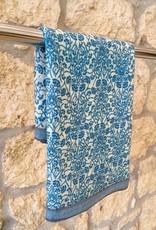 Himalayan Cashmere Company HCC- Fine Twill Dandelion- Ivory/Prussian Blue