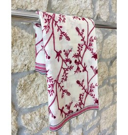 Himalayan Cashmere Company HCC- Fine Twill Spring - Ivory/Fuschia