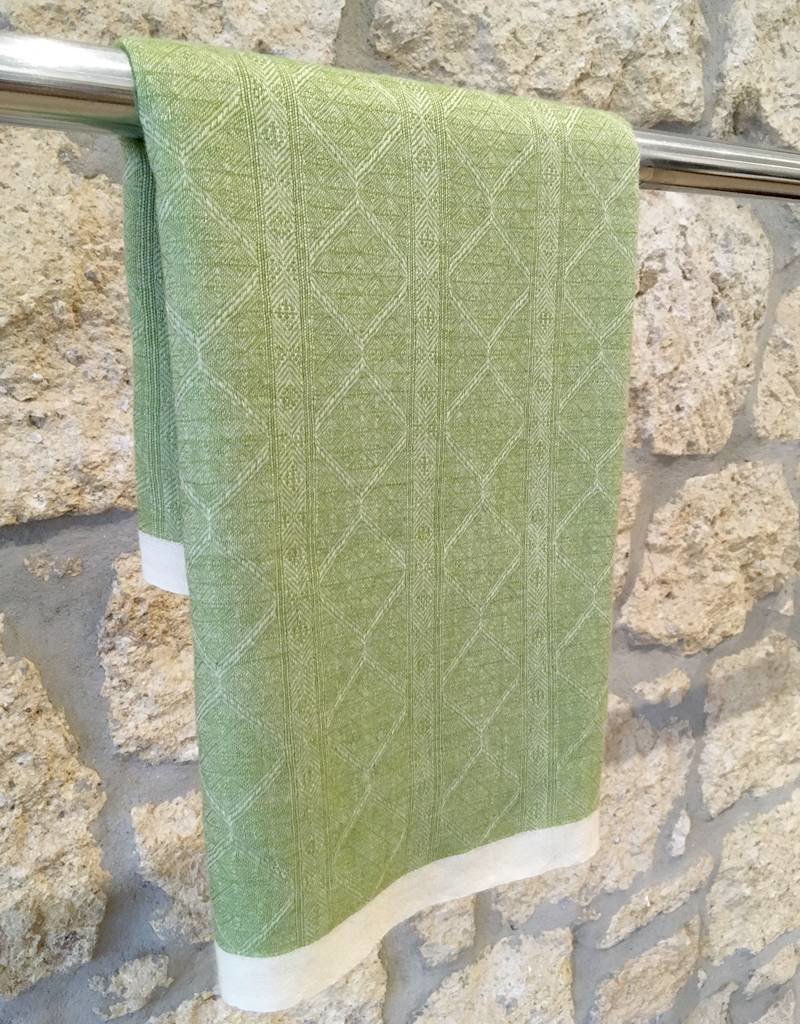 Himalayan Cashmere Company HCC- Oriental Weave Jacquard- Ivory/Vert