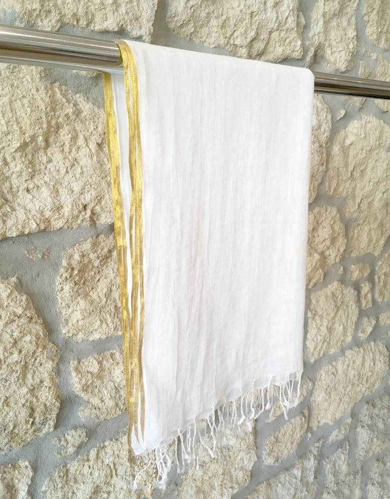 Flats Linen Scarf w/ Gold Edge Ivory