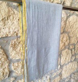 Flats Linen Scarf w/ Gold Edge Ice Blue
