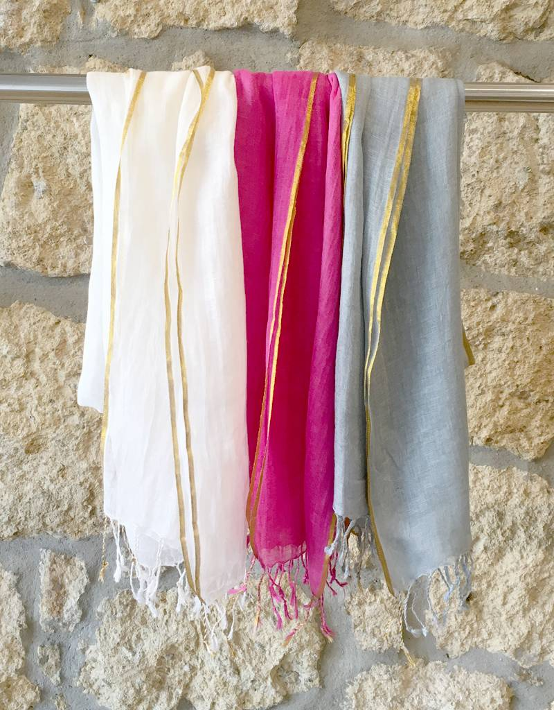 Flats Linen Scarf w/ Gold Edge Ice Blue
