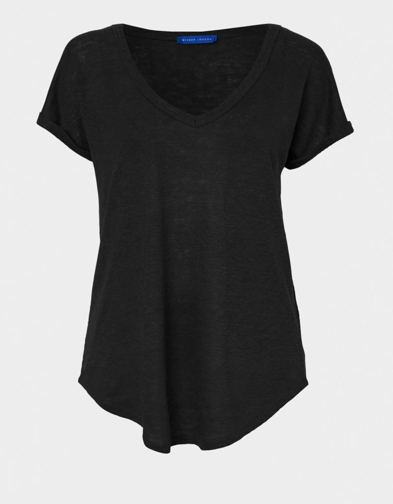 Winser London WL- Pure Linen V-Neck T-Shirt
