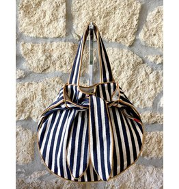 Flats Striped Sac Navy