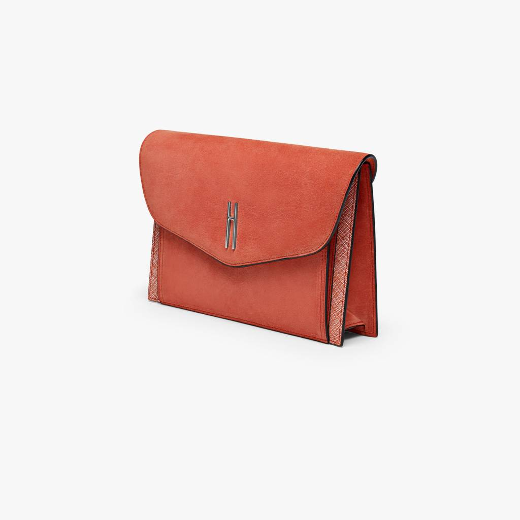Hayward Bobby Clutch- Suede Parrot Red