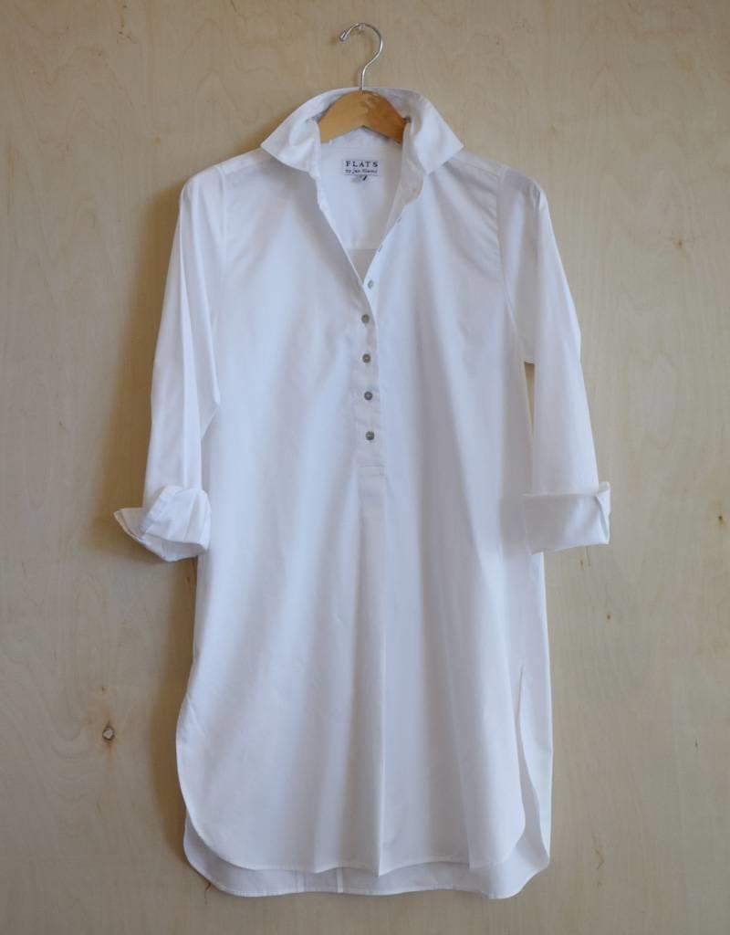 Flats Swiss Shirt- Cotton Sateen-White