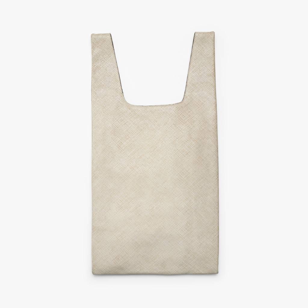 Hayward Shopper- Crosshatch Beige/White
