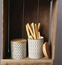 Creative Co-op Stoneware Jar w/ Wood Lid, LG